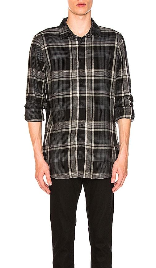 Calvin Klein Brushed Plaid Woven Shirt in Black