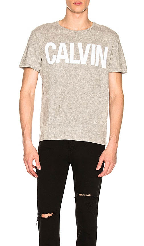 Calvin Klein Flocked Calvin Tee in Gray