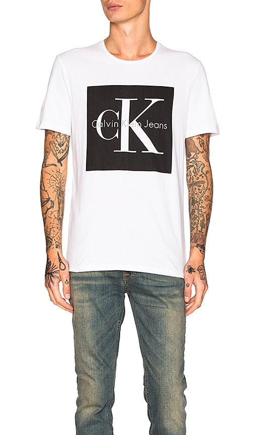 Calvin Klein Reissue Box Logo T Shirt in White