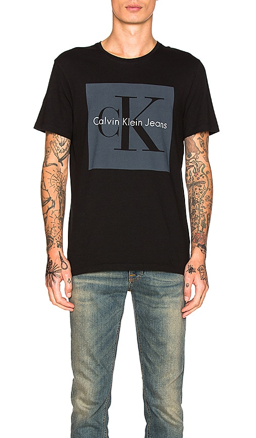 Calvin Klein Reissue Box Logo T Shirt in Black