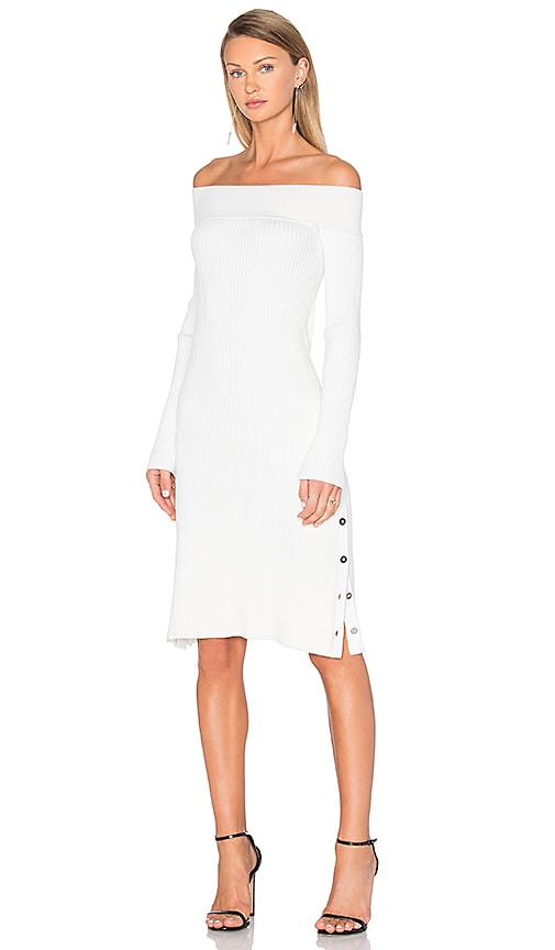 C/MEO Life is Real Long Sleeve Knit Dress in White