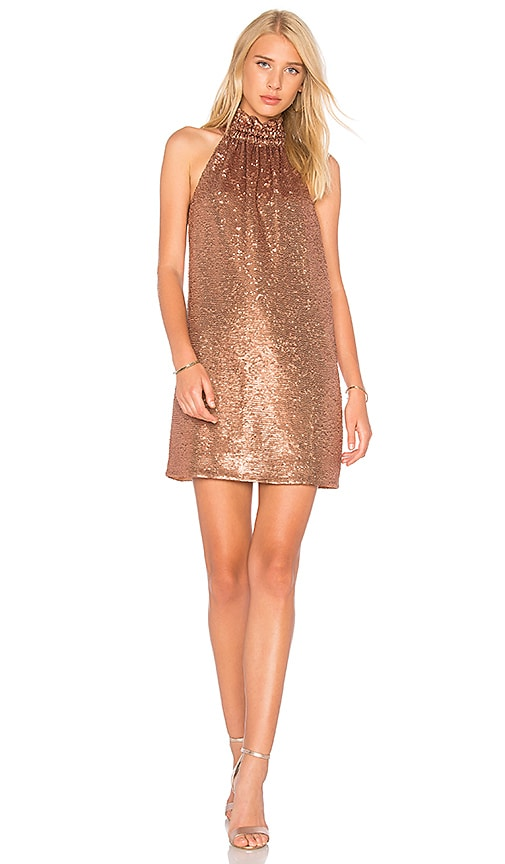 C/MEO Illuminated Mini Dress in Metallic Copper