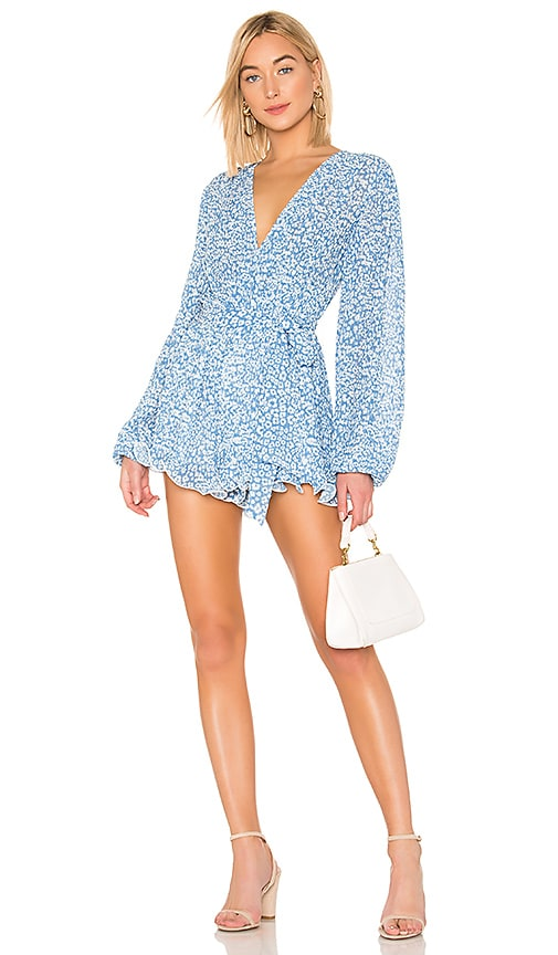So Settled Romper In Blue Abstract Floral