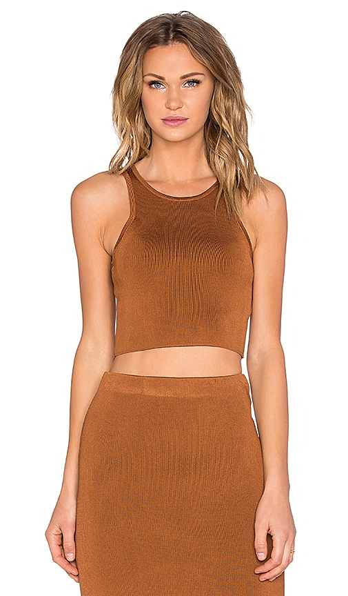 C/MEO Waiting Game Crop Top in Copper