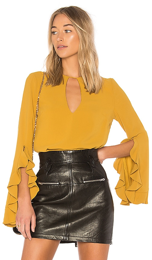 C/MEO Gossamer Long Sleeve Top in Mustard