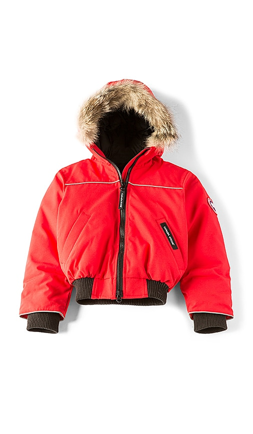 Canada Goose Grizzly Coyote Fur Trim Bomber in Red