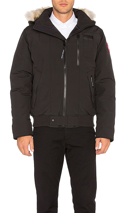 Canada Goose Borden Coyote Fur Trim Bomber in Black