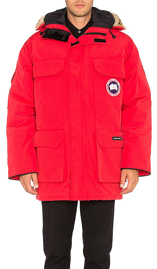 Canada Goose Expedition Coyote Fur Trim Parka in Red