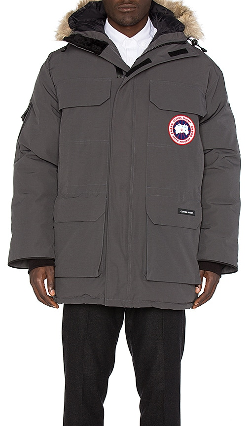 Canada Goose Expedition Coyote Fur Trim Parka in Charcoal