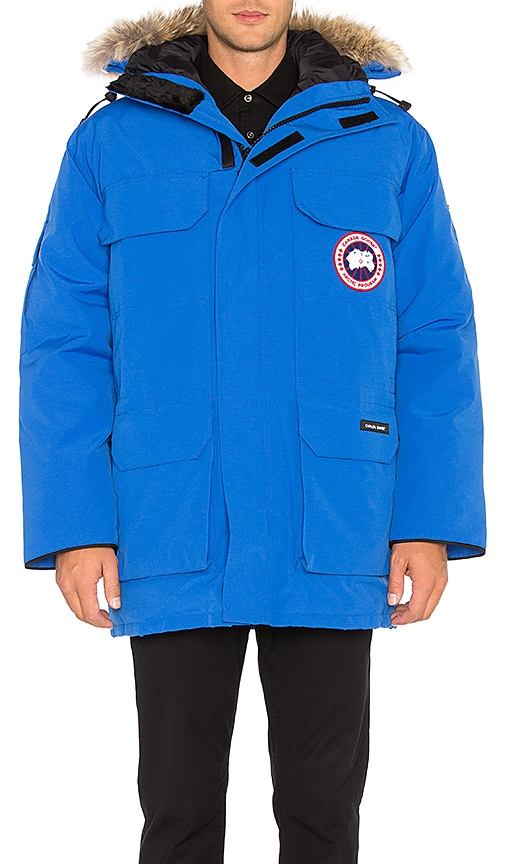 Canada Goose Polar Bears International Expedition Coyote Fur Trim Parka in Blue