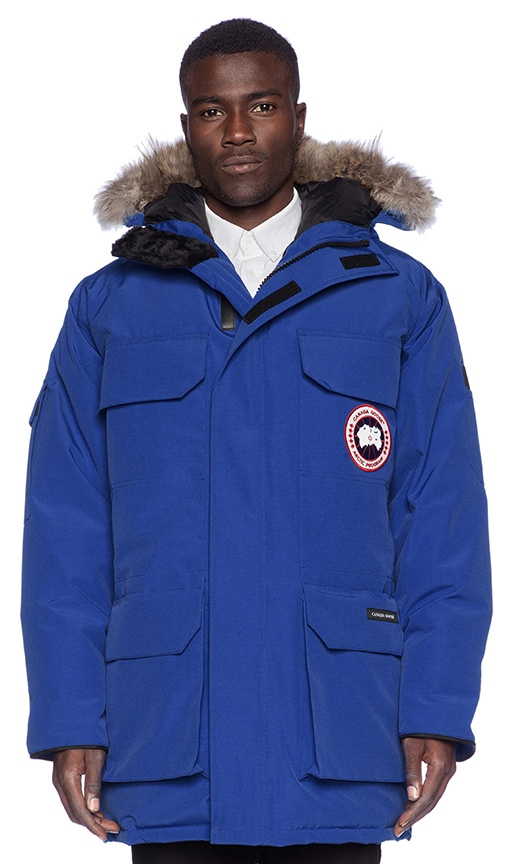 Canada Goose Expedition Coyote Fur Trim Parka in Pacific Blue