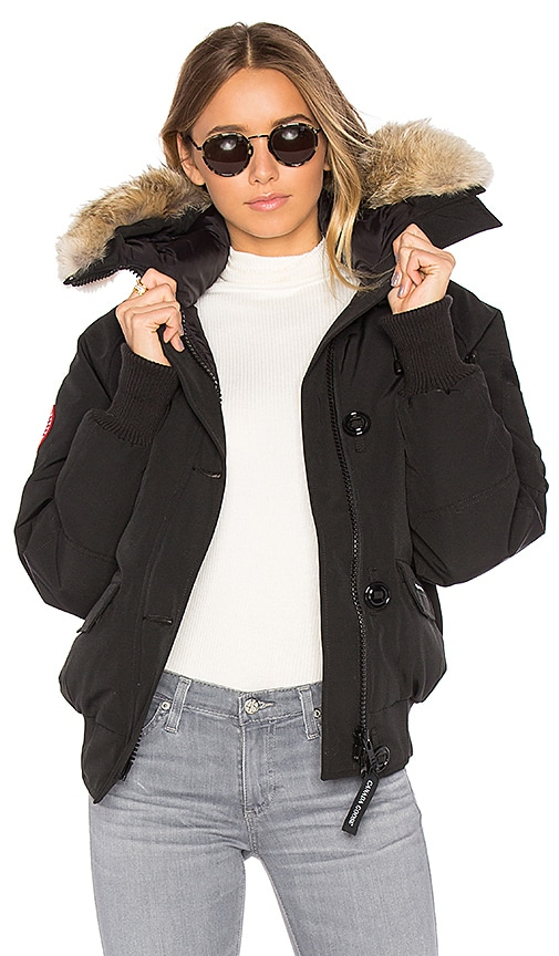 Canada Goose Chilliwack Bomber with Coyote Fur in Black