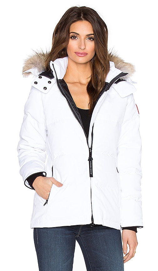 Canada Goose Chelsea Coyote Fur Parka in White