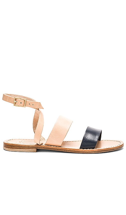 Capri Positano Classic Band Sandal in Tan Light & Navy
