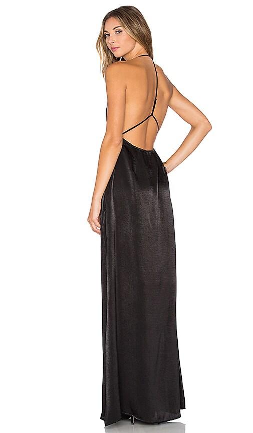 Capulet Halter Neck Maxi Dress in Black Micro Velvet