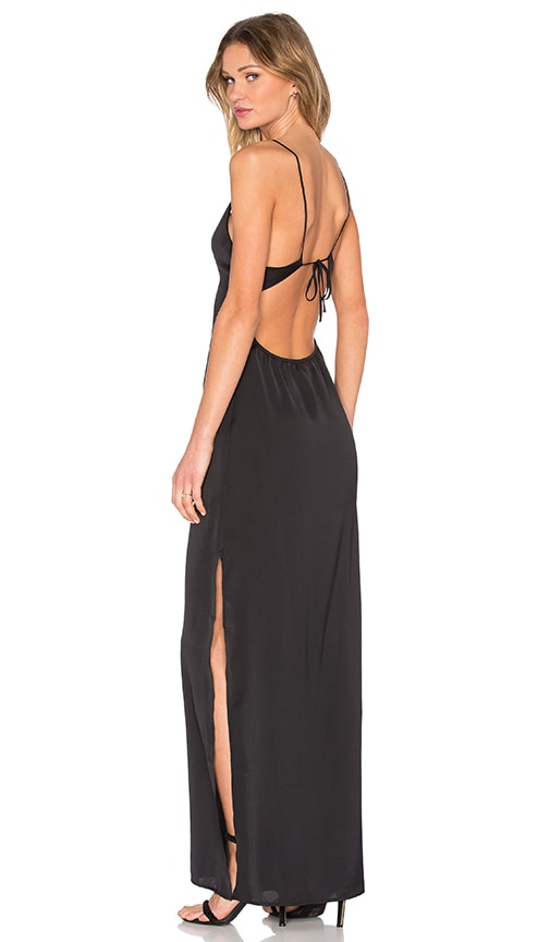 Capulet Deep V Maxi Dress in Black