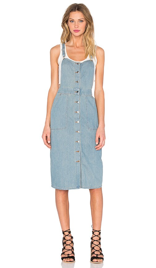 Capulet Front Button Overall Dress in Washed Denim