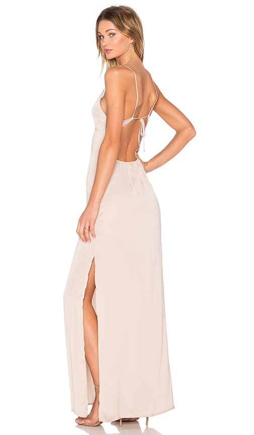 Capulet Deep V Maxi Dress in Beige
