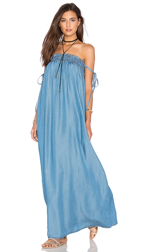 Capulet Tube Maxi Dress in Washed Denim | REVOLVE