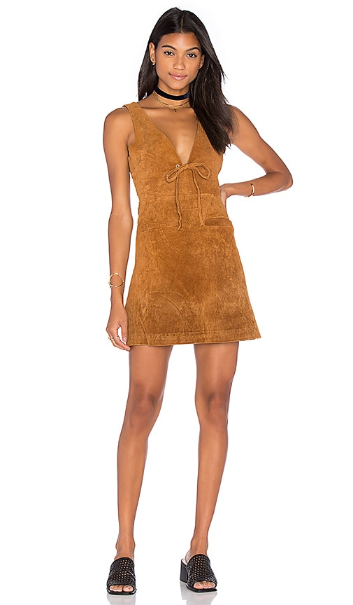 Capulet Roxy Tie Front Mini Dress in Cognac