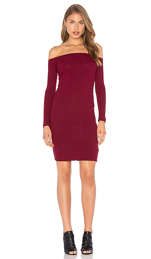 Capulet Shoulderless Bodycon Dress in Burgundy