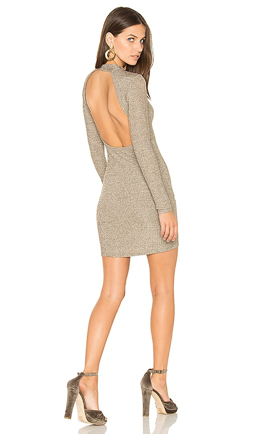 Capulet Ruby Ribbed Bodycon Dress in Metallic Gold