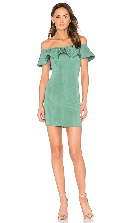 Capulet Eva Off Shoulder Mini Dress in Sage