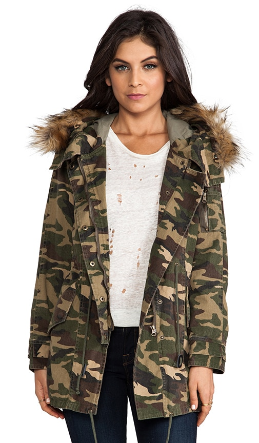 Military Parka with Faux Fur Trim