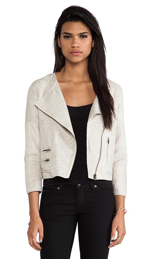 Collarless Moto Jacket