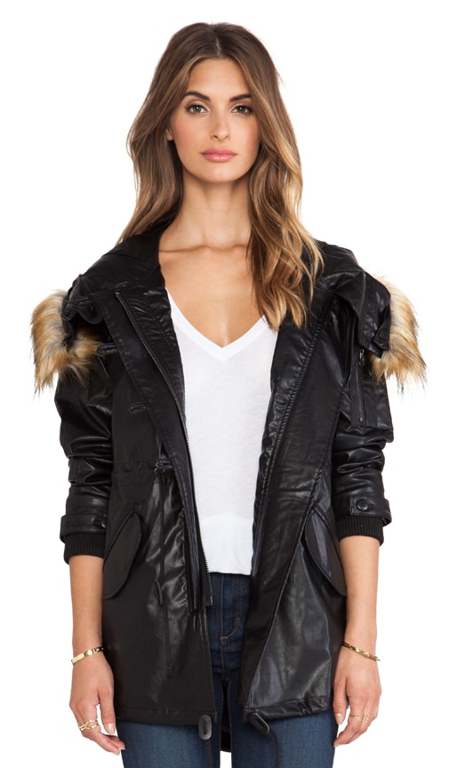 Vegan Leather Hooded Parka with Faux Fur Trim