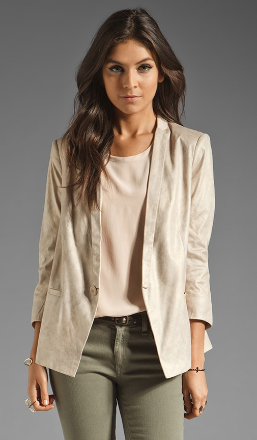 Notch Collar Faux Leather Blazer
