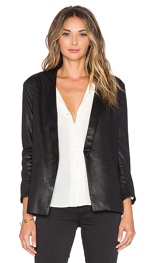 Capulet Notch Collar Blazer in Black Python