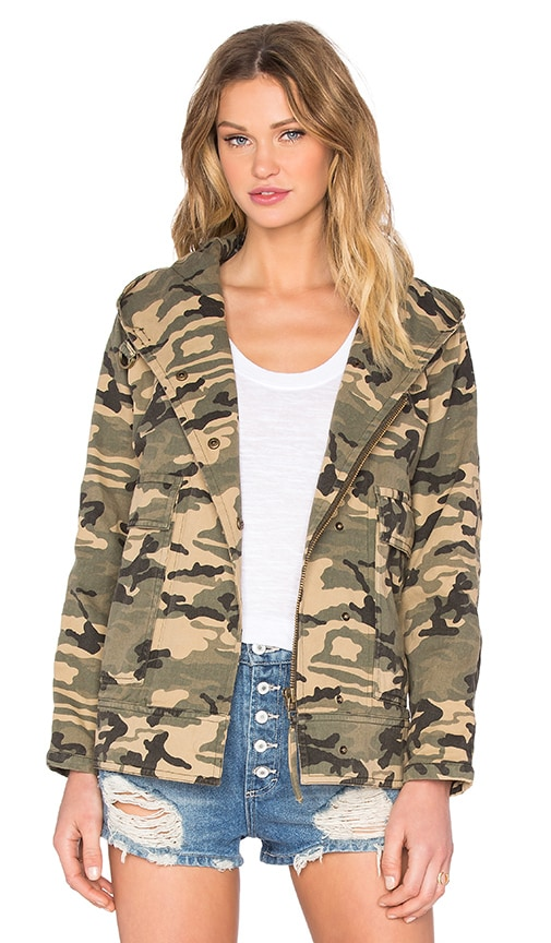 Capulet Hooded Military Jacket in Army