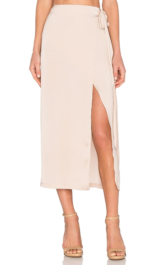 Capulet Wrap Maxi Skirt in Beige