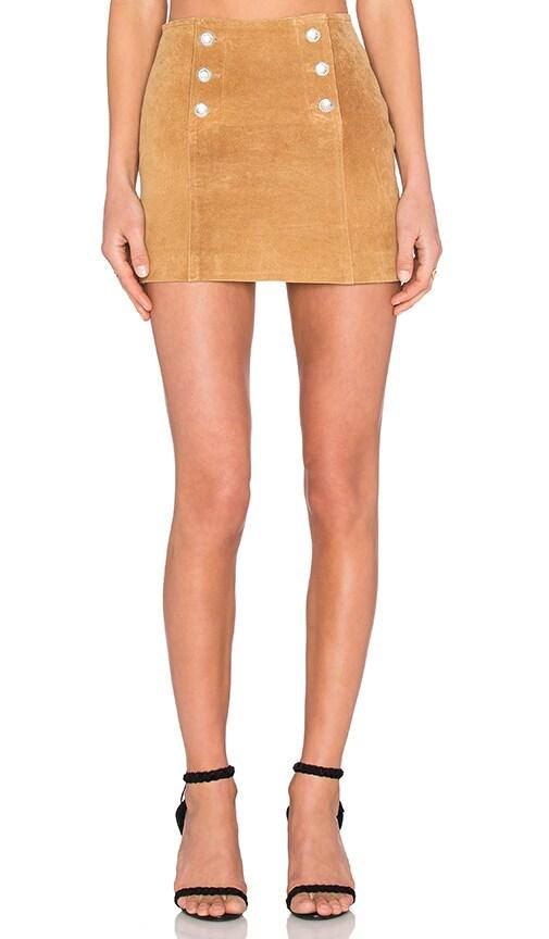 Genuine Suede Button Mini Skirt