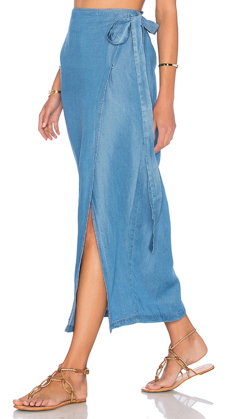 Capulet Wrap Maxi Skirt in Washed Denim