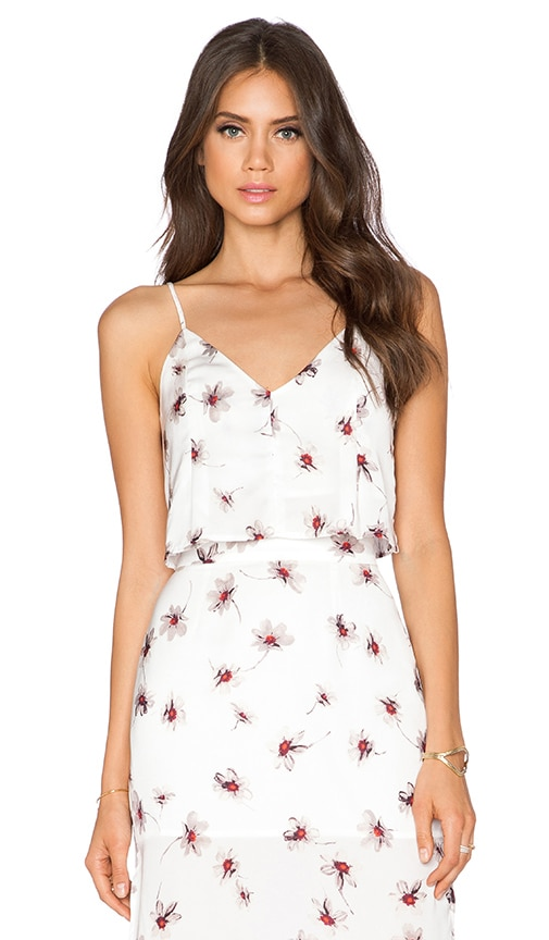 Capulet Flare Crop Top in White Floral