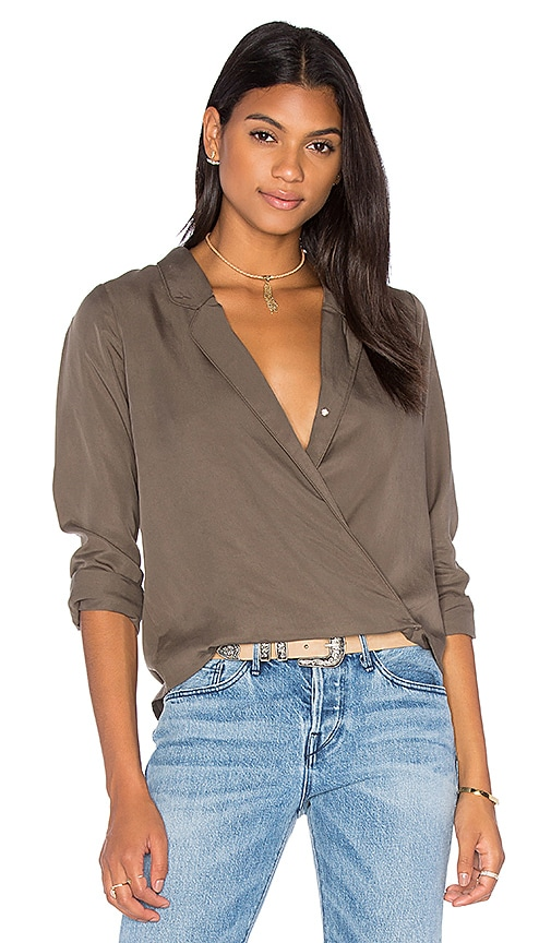 Capulet Cassidy Cross Over Blouse in Olive