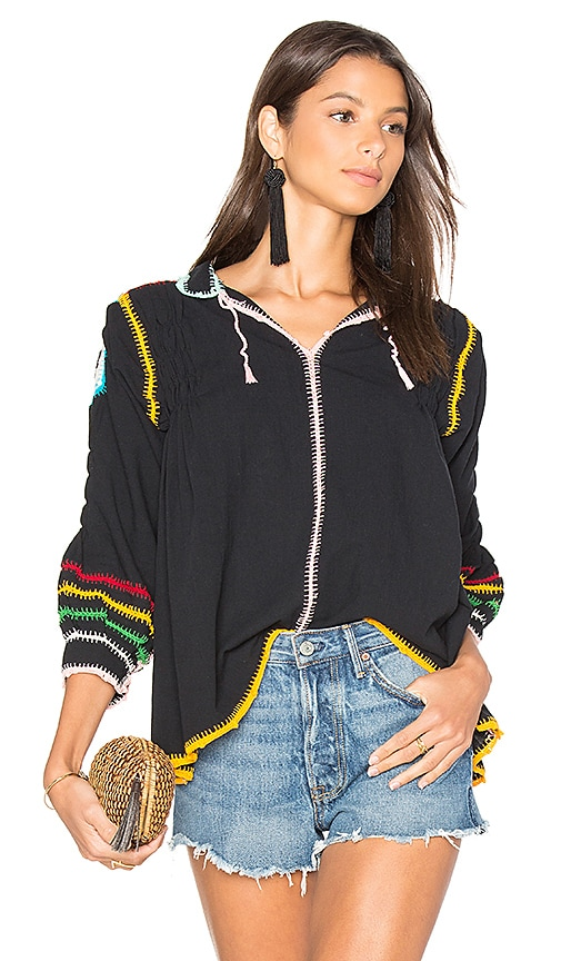 Carolina K Oaxaca Crochet Blouse in Black