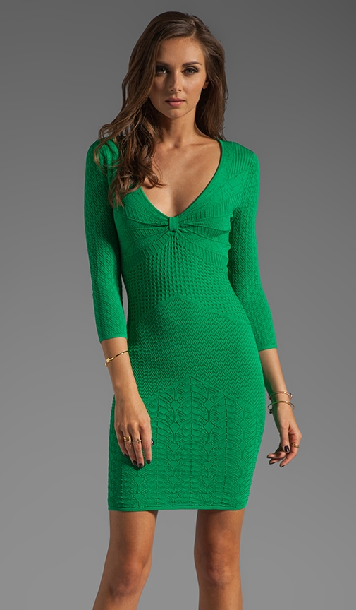3/4 Sleeve Deep V Neck Mixed Pointelle Dress