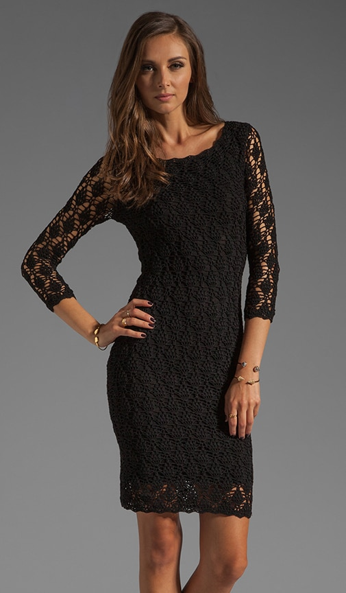 3/4 Sleeve Boat Neck Crochet Dress