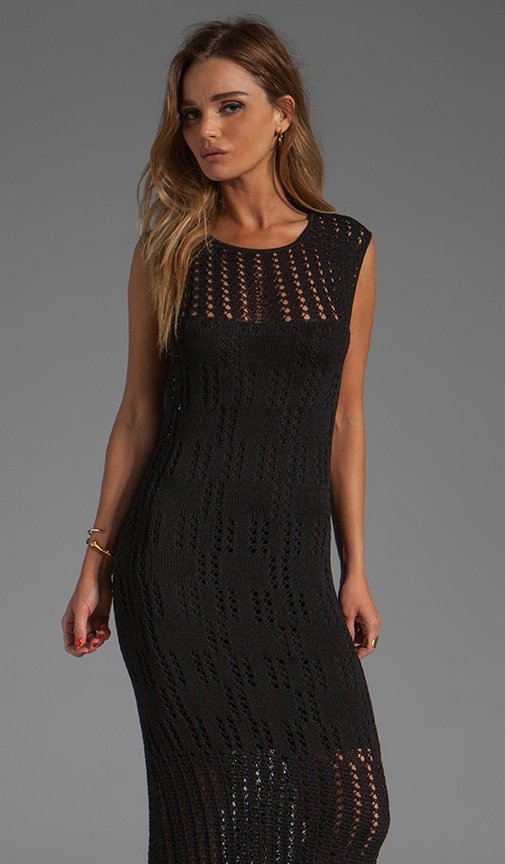 Long Cap Sleeve Pointelle and Crochet Dress