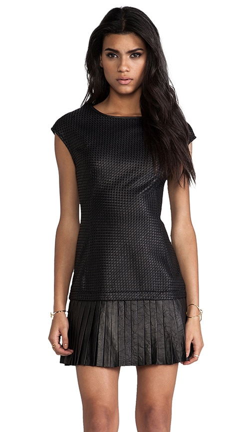 Anjali Basket Weave Leather and Ponte Dress