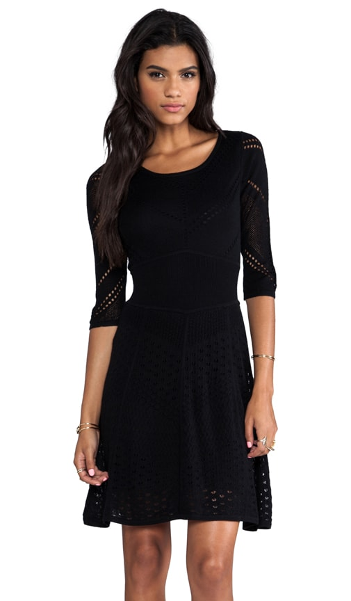 Favorites 3/4 Sleeve Mixed Pointelle Dress