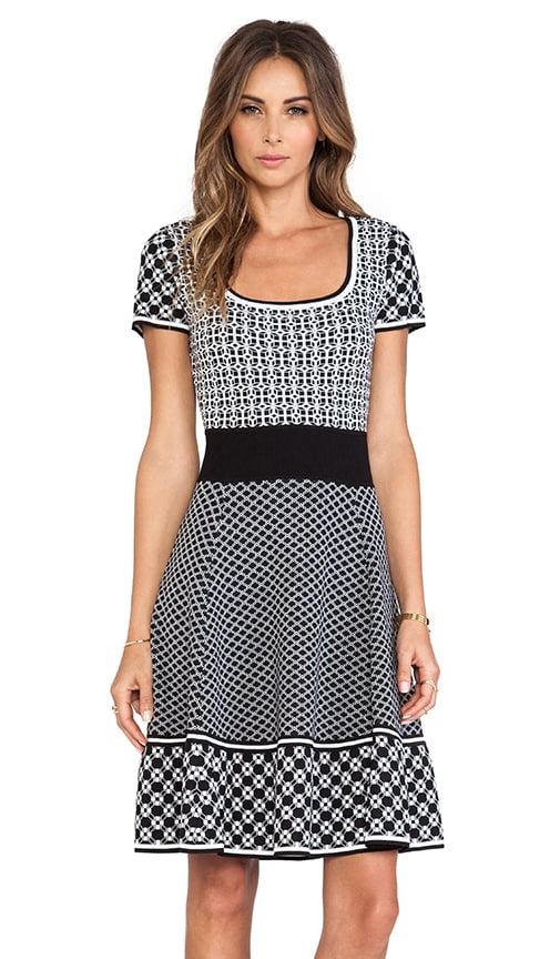 Genevieve Fit & Flare Knit Jacquard Dress