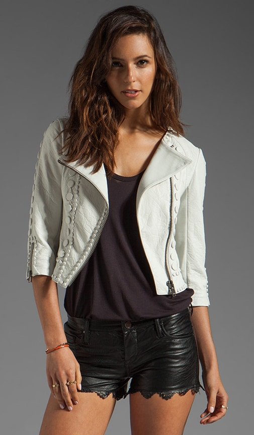 Embellished Cropped Leather Jacket