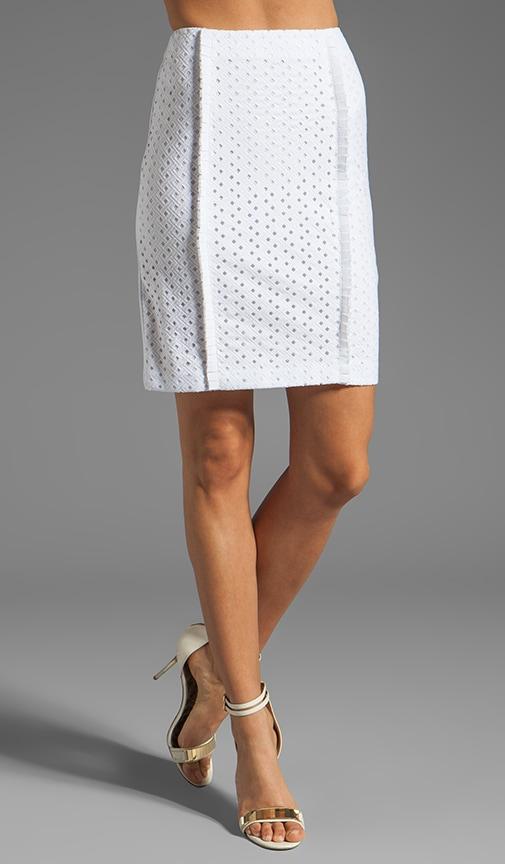 Eyelet Pencil Skirt
