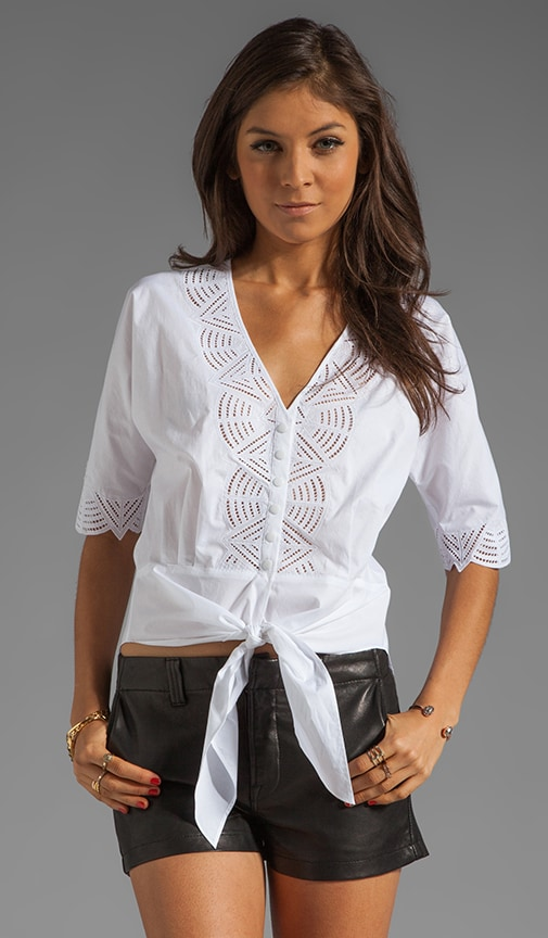3/4 Sleeve Cotton Blouse with Geometric Cut Out
