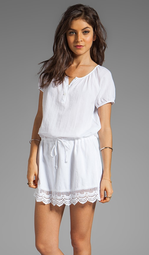 Textured Cotton Short Sleeve Split Neck Dress With Lace