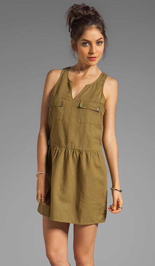 Linen Cotton Safari Split Neck Tank Dress